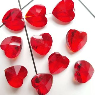 Chandelier Glass Heart Parts Red 14mm