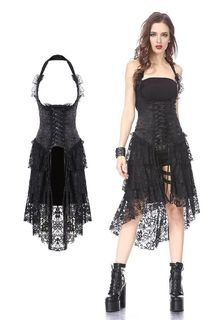 DARK IN LOVE-Gothic Corset Dress Lace Hem