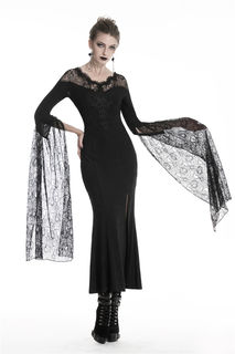 DARK IN LOVE-Gothic Long Lace Sleeve Side Split Dress