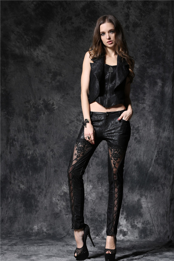 DARK IN LOVE-Gothic Embossed Lace Leather Look Pants