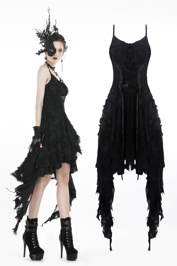 DARK IN LOVE-Gothic Feather Lace Dress